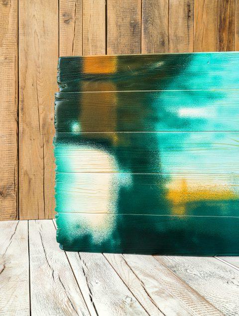 Druck auf Vintage-Holz: Lattenholz Fichte mit gebrochenen Kanten und vollflächig vorgeweißt
