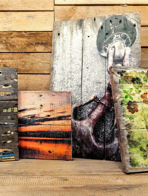 Nachhaltige Upcycling Holzpaletten Holzbild Collage