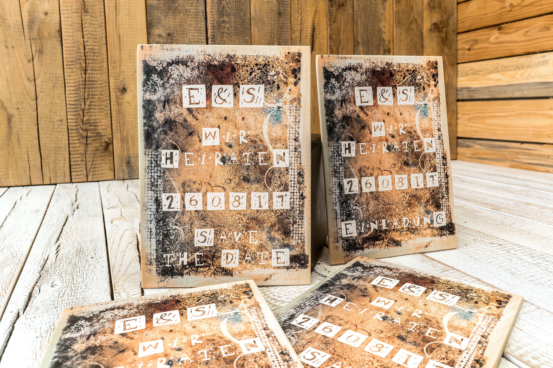 Kreative Einladungskarten Auf Holz Mit Natürlichem Touch