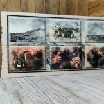 Holzlattendruck auf hellem und vorgeweißtem Vintage-Holz